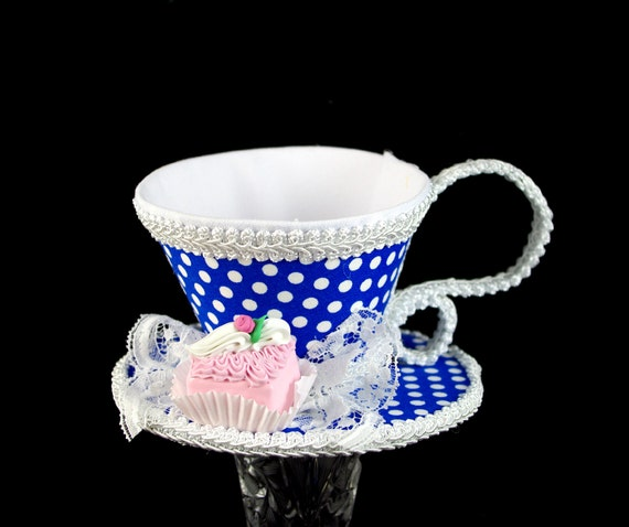 Blue and White Polka Dot with Pink Petit Four Tea Cup Fascinator Hat, Alice in Wonderland Mad Hatter Tea Party, Derby Hat