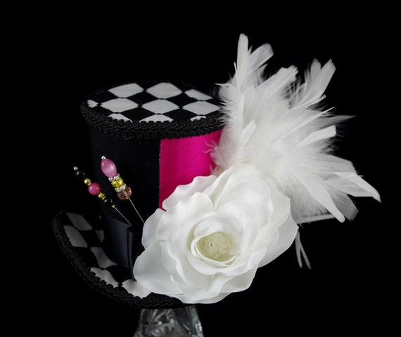 Black, White, and Pink Color Blocked White Rose Large Mini Top Hat Fascinator, Alice in Wonderland, Mad Hatter Tea Party, Derby Hat