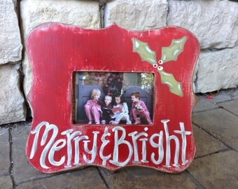 Merry and Bright Christmas Frame-Red