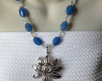 Free Shipping,Light Blue Beaded and Silver Flower Focal Necklace,silver flower, flower pendant, swarovski crystals,flower toggle clasp,blue