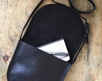 Small black leather saddle bag, black leather handbag, black shoulder bag, black leather purse, small cross body, saddle bag, black bag