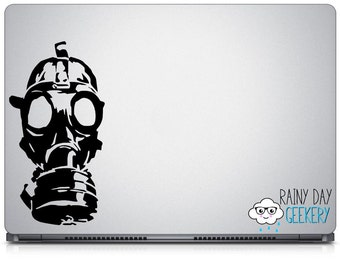 Gas mask vinyl window decal - apocalypse - vinyl window decal - exterior window sticker