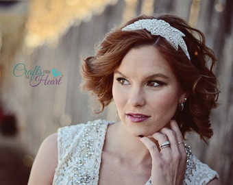 Rhinestone Headband - Bridal Headband - Wedding Headband - Flower Girl Headband - Crystal Headband - Adult Headband - Gatsby Headband Bride