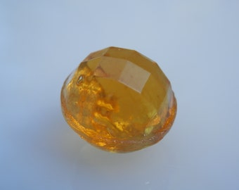 Amber Vintage Glass Multifaceted Button
