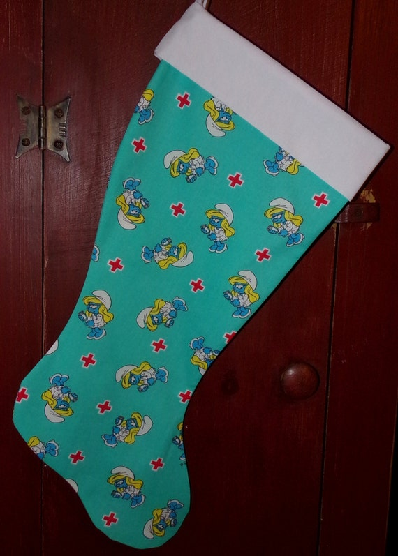 Smurfette Nurse Christmas Stocking