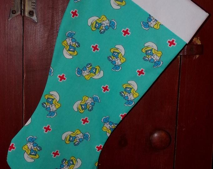 Smurfette Nurse Christmas Stocking