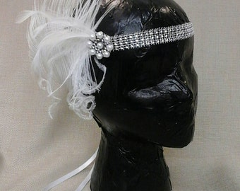 White Feather Flapper Headband