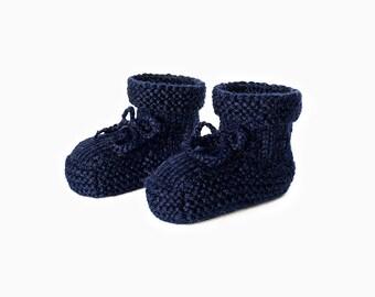 Alpaca Baby Booties - Navy