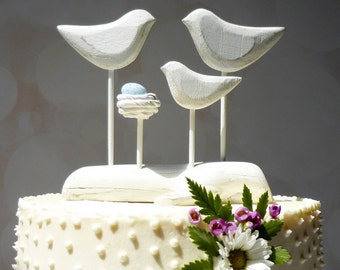 Baby to Be Wedding Cake Topper, Baby Shower Gift, Family Cake Topper, Family Wedding Topper, Love Birds and Nest Cake Topper