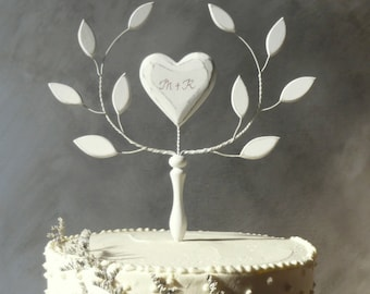 Wood Heart Cake Topper Wooden Wedding Valentines