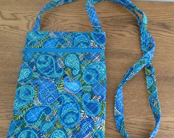 Blue/Green/Aqua Paisley Cross Body Bag