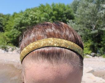 Gold Glitter Headband Adult - Girls Headbands for Women - Sports Headbands for Girls - Gold Headband - Girl Head Bands