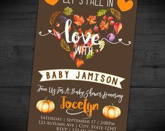 Fall In Love Baby Shower Invitation - Autumn Baby Sprinkle Invite - Diaper Shower - Pumpkin - Printable or Printed - SHIPPING INCLUDED - 4x6