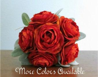 "Silk Ranunculus & Dusty Miller Wedding Bouquet, Ivory, Tan, Brown, Gold, Orange, Red, Lavender, Purple, or Blue, ""Delight"""