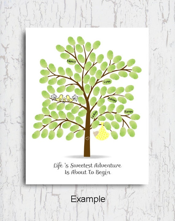 tree baby shower guest book poster baby in tree yellow baby shower
