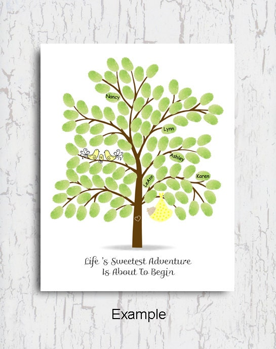 baby shower thumbprint tree baby shower guest book poster