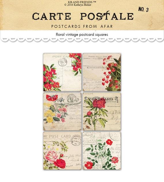 digital square floral postcards shabby chic digital collage