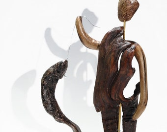 THE FISHERMAN Driftwood Sculpture, Reclaimed Wood Sculpture, Driftwood Art Sculpture.