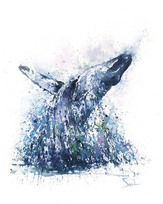 Whale Art Print Watercolor Whale Painting Humpback Whale