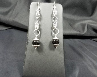 Chainmaille and Black Bead Earrings