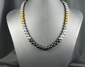 Black, Silver and Gold Bead Necklace
