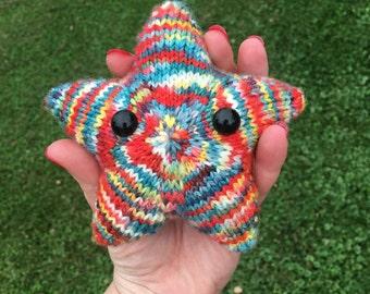 Hand dyed, hand knit star plush, 100% super wash merino wool