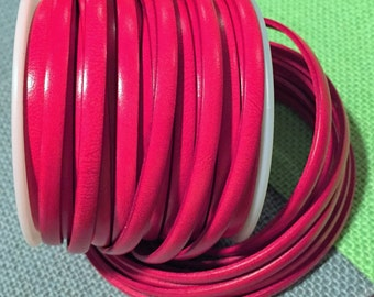 """16""""  5mm flat Italian Dolce Vivid Watermelon 5mm Flat Leather Cord finding, jewelry supplies strap"""