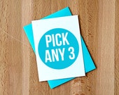 You Pick! Any 3 Greeting Cards ||| Your Choice Any Occasion Just Because Note Card Set