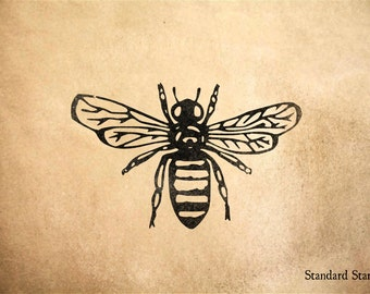 Honey Bee Rubber Stamp - 3 x 2 inches