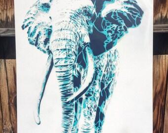Wisdom - Elephant Street Art Canvas Painting; elephants, dumbo, asian elephant, african elephant, spray paint, stencils by mowgliart