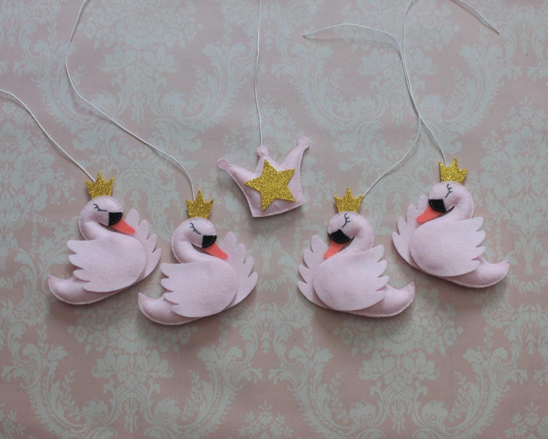 Princess swan crib mobile set felt hanging by for Princess crib mobile