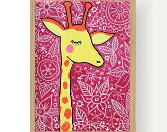 Giraffe Print Illustration Children's Room Print - African Animal Art - Girls Room Decor - Boys Room Decor