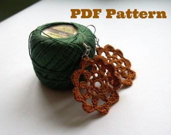 Crochet Pattern, PDF Pattern Crochet Flower Lace Earrings, Instant Download, Digital Download, DIY Jewelry, Crochet Tutorial, Crochet Ebook