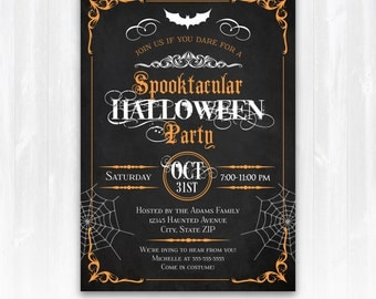Halloween Invitations, Halloween Party Invitations, Halloween Invites, Halloween Party Supplies - INSTANT Download - Edit from home NOW!!!!