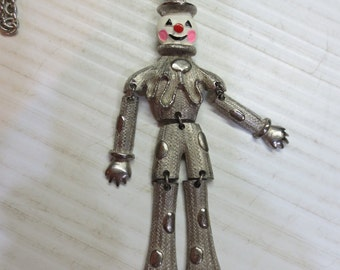 Vintage Clown Pendant With Enamel Face Articulated Silver Tone