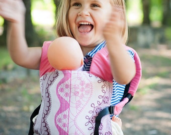 FREE SHIPPING/ by Bagy™ Pink Lace Reversible Doll Carrier Stripes/ soft structured/ by Bagy collection/ best gift for girls