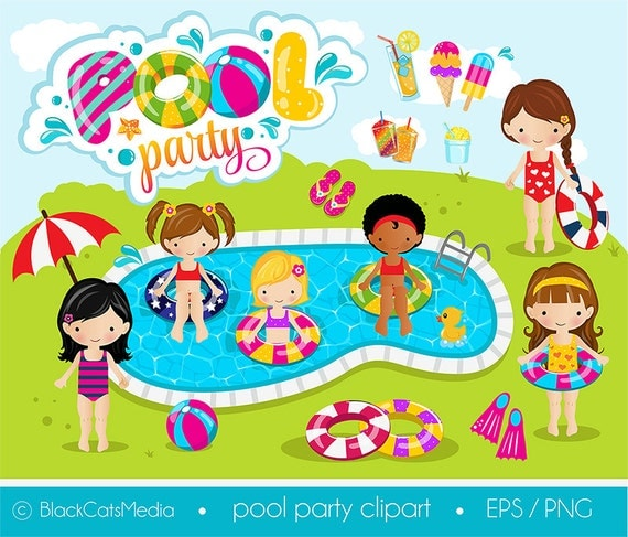 Girls Pool Party Clipart Pool Clipart Pool Party Digital