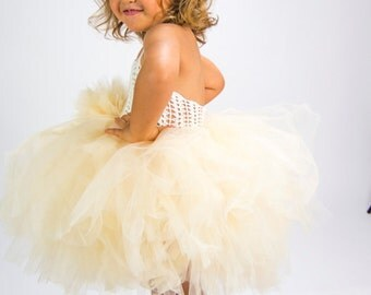 READY TO SHIP. Ivory and Champagne Girl  Tutu Dress