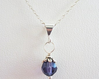 Purple 6mm Swarovski Crystal Pendant Charm and Necklace