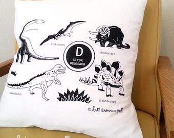 Dinosaur Pillowcover // Fits 20 x 20 pillow //Black Ink
