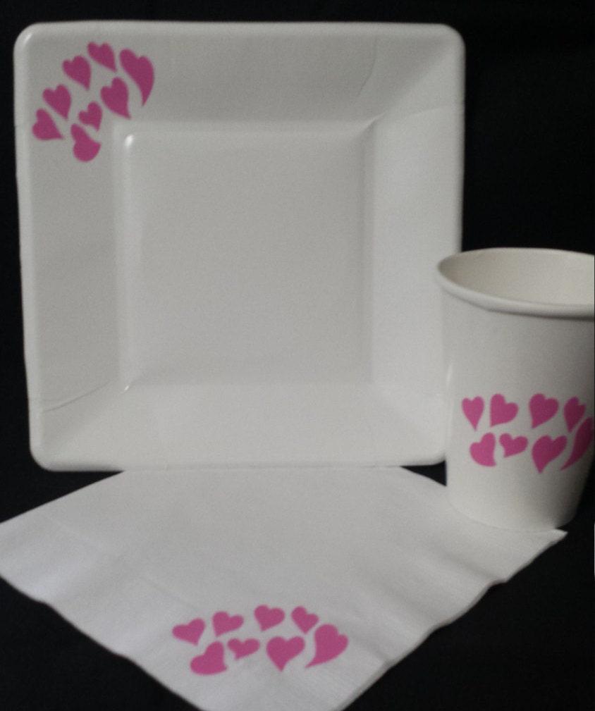 bridal shower paper party plates napkins cups heart plates. Black Bedroom Furniture Sets. Home Design Ideas