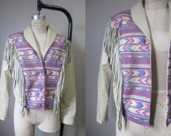 1980s pastel kilim & leather fringe jacket | 80's rare navajo southwestern boho biker jacket | M to L