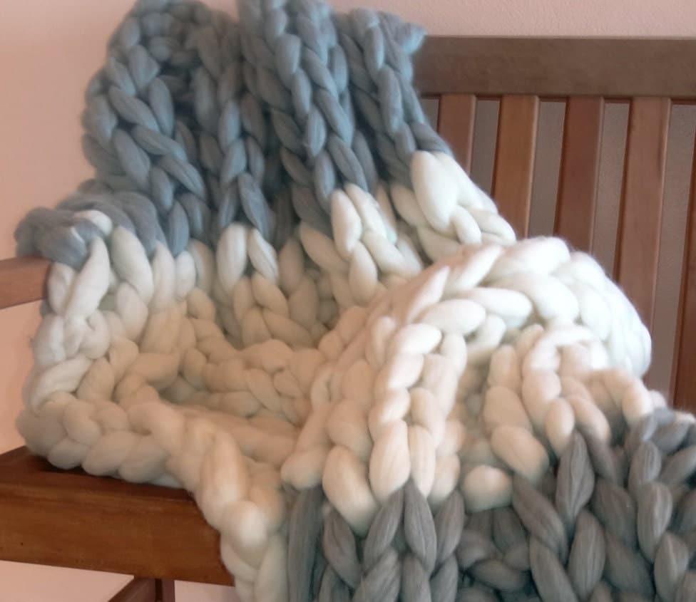 Hand Knitting Merino Wool Blanket : Chunky blanket pure merino wool knit