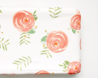 Changing Pad Cover in Soft Floral. Change Pad. Changing Pad. Minky Changing Pad Cover. Floral Changing Pad Cover.