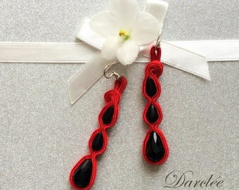 Red and Black Soutache Earrings