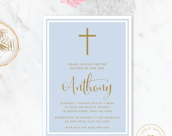 Boy Baptism Invitation Printable / Boy Christening Invite / Cross