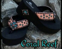 Coral Reef - Custom Designed Bling Flip Flop Sandal with Genuine Coral Leather, Copper Concho, Copper Rivets and Genuine Swarovski Crystals