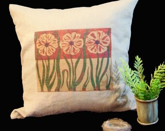 """Linen Pillow Cover, Square Decorative 20"""" Pillow Case with Garden Poppies Block Print"""
