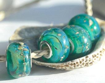 "Big hole beads ""Taiga secrets"" lampwork"