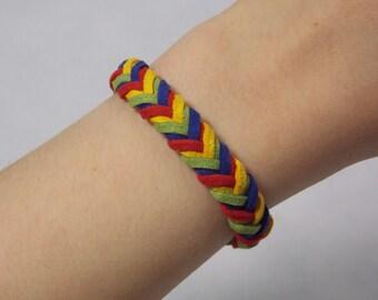 Chevron Braided Bracelet: Red/Yellow/Green/Sapphire Rainbow -- Suede Adjustable Bracelet